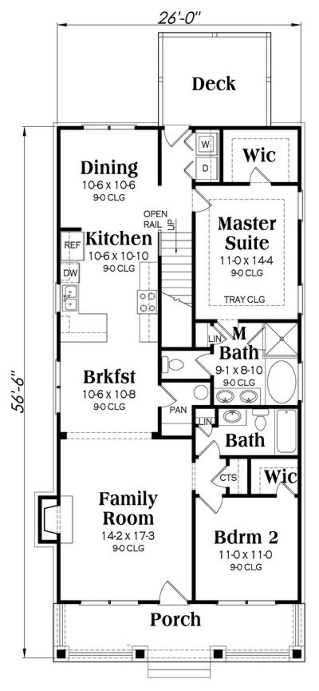 Craftsman Style House Plan 4 Beds 3 Baths 1853 Sq Ft Plan 419 254 Rectangle House Plans Craftsman Floor Plans Bungalow House Floor Plans