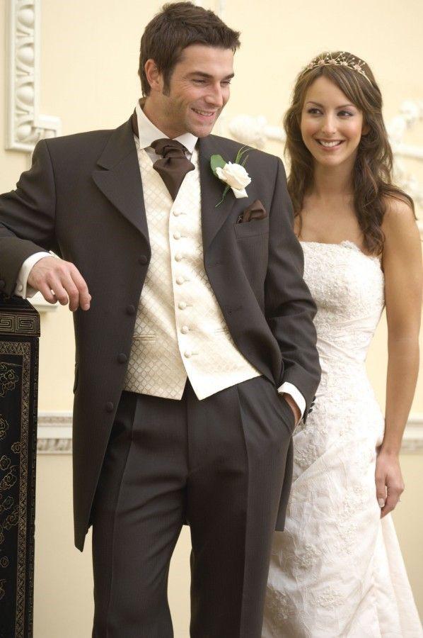 Dark Grey Wedding Suit with Cream Waistcoat and Brown Cravat But ...