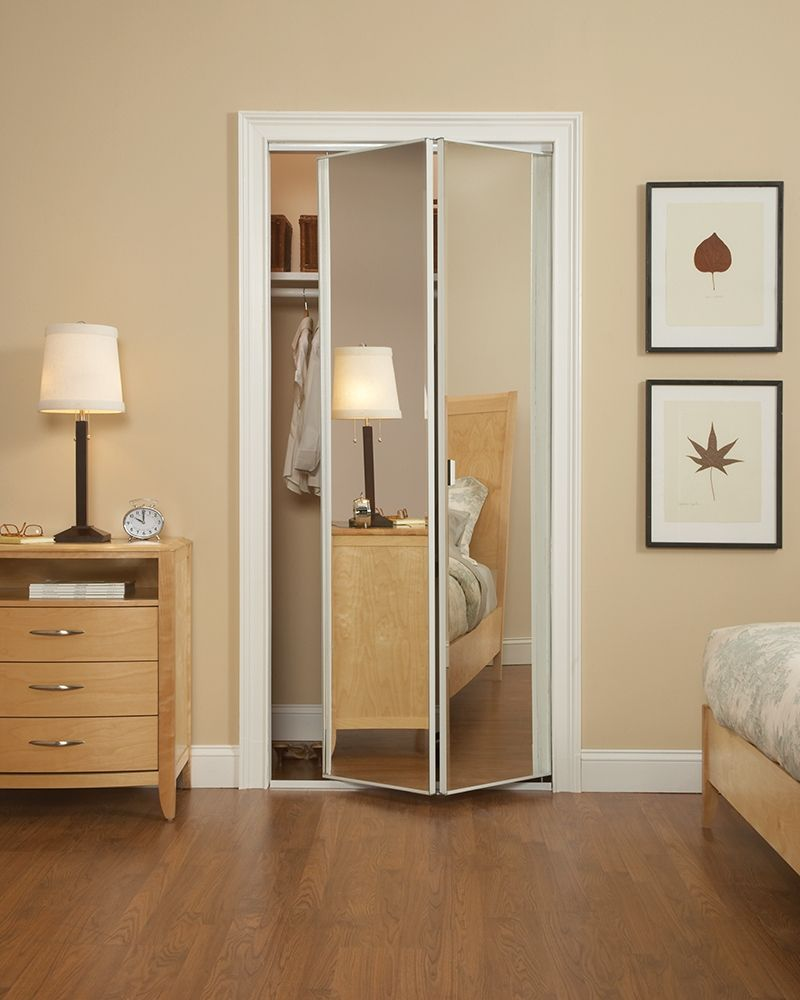 Narrow Closet Doors Mirror Bifold With Images Mirrored Bifold