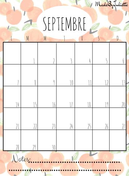 septembre 2015 imprimes le calendrier pour customiser. Black Bedroom Furniture Sets. Home Design Ideas
