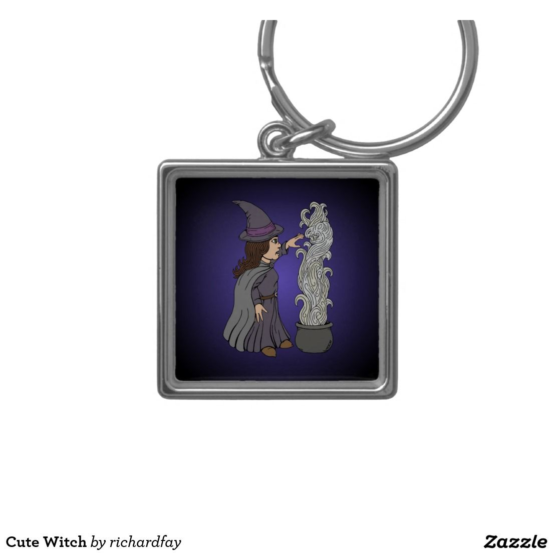 Cute Witch Silver-Colored Square Keychain