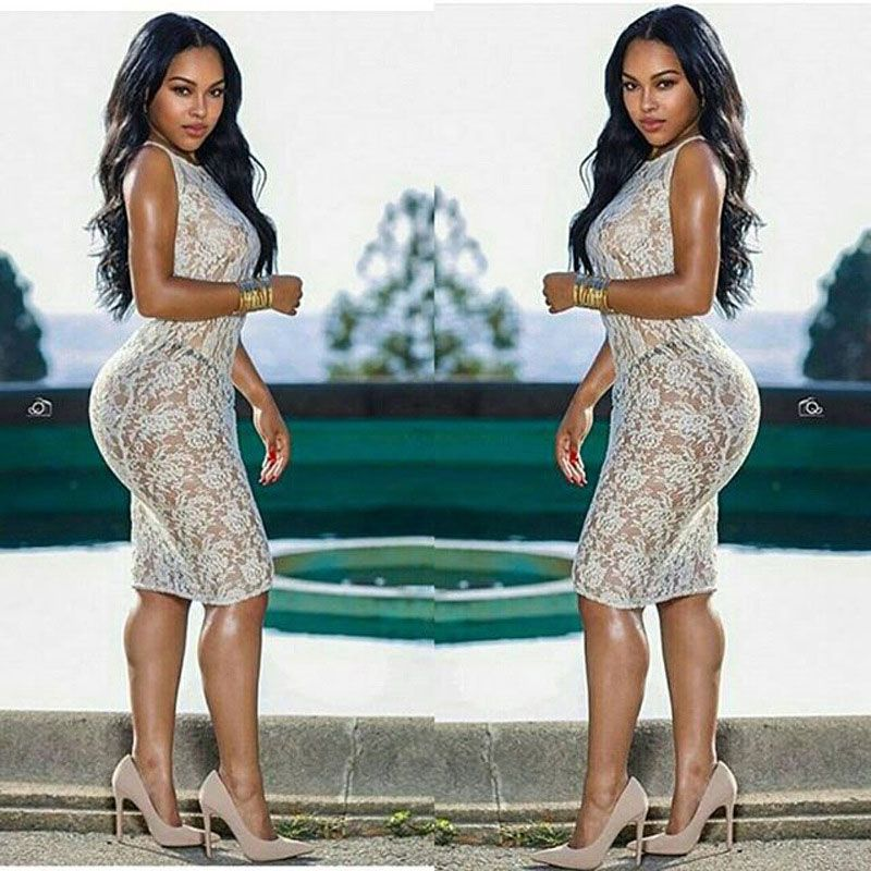 See Through Sexy Dress Fashion Women Lace Bodycon Dresses Plus Size