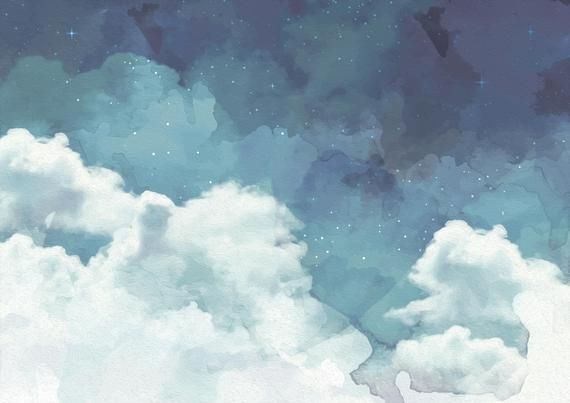 Cloudy Night Sky Wallpaper | Etsy