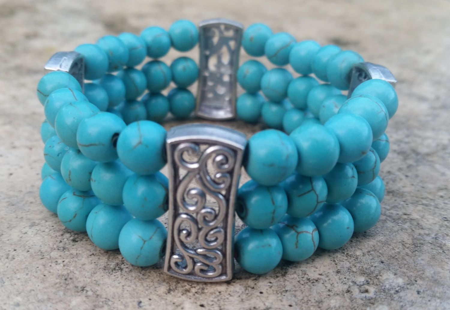 Turquoise Bracelet - Cuff Bracelet  - Statement Jewelry - All Occasions - Beaded…