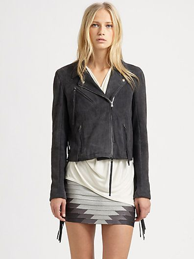 Love this outfit! Haute Hippie - Suede Fringe Motorcycle Jacket - Saks.com