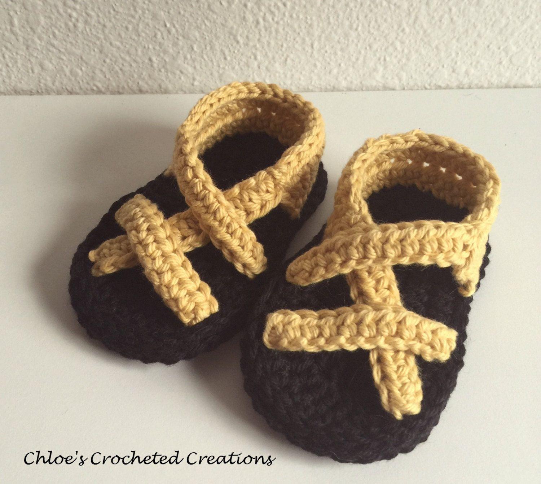 Crocheted baby sandals yrllow newborn shoes infant booties shower gift 0-3 month cotton crochet thread girl footwear summer