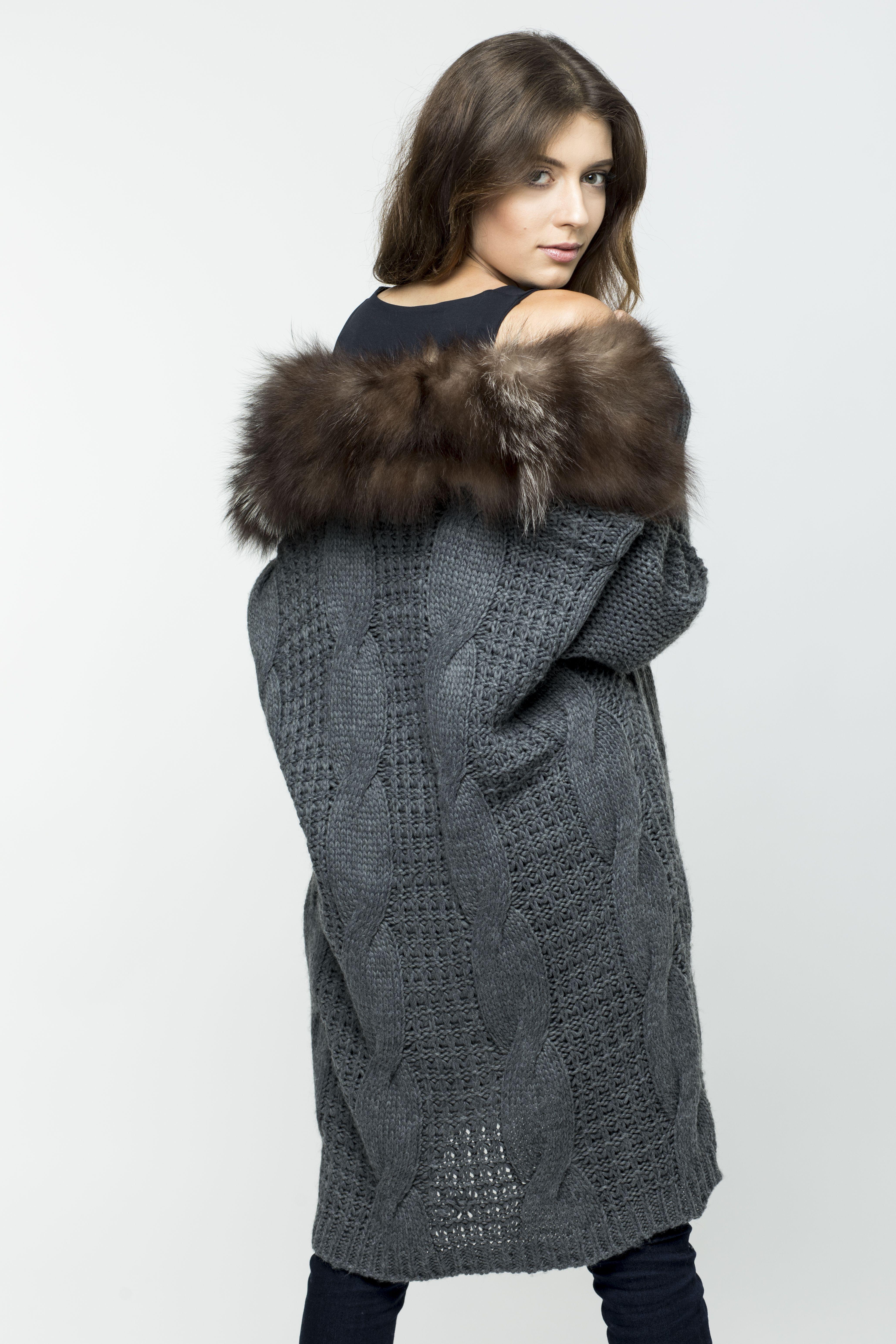 Odziez Z Dodatkiem Futra Kolnierz Futro Naturalne Wool Coat Coat Fashion