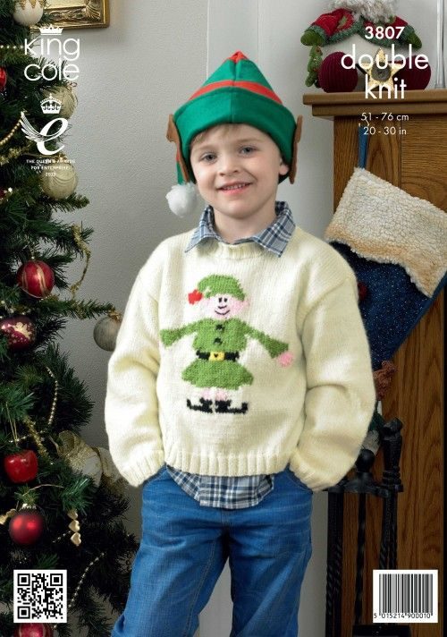 bdb35c69a Childrens Christmas jumper pattern Christmas Elf Sweater - King Cole  Christmas Knitting