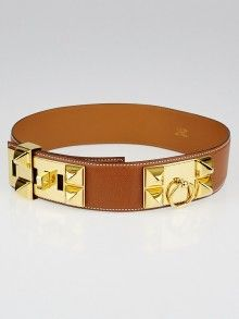 349a4276aa0 Hermes Gold Courchevel Leather Gold Plated Collier de Chien Belt Size 65