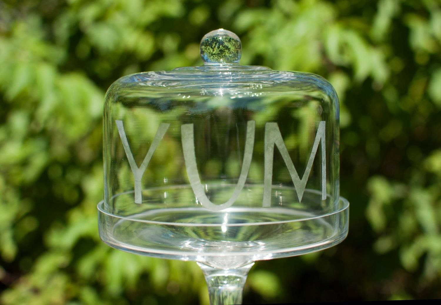Etched yum glass stand with dome lid pedestal dessert
