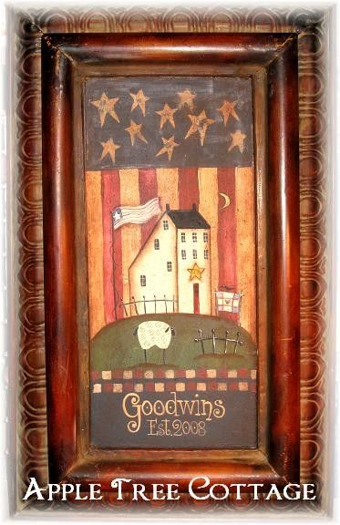 Hand Painted Prim Metal Tile Name Plaque Primitive And Americana