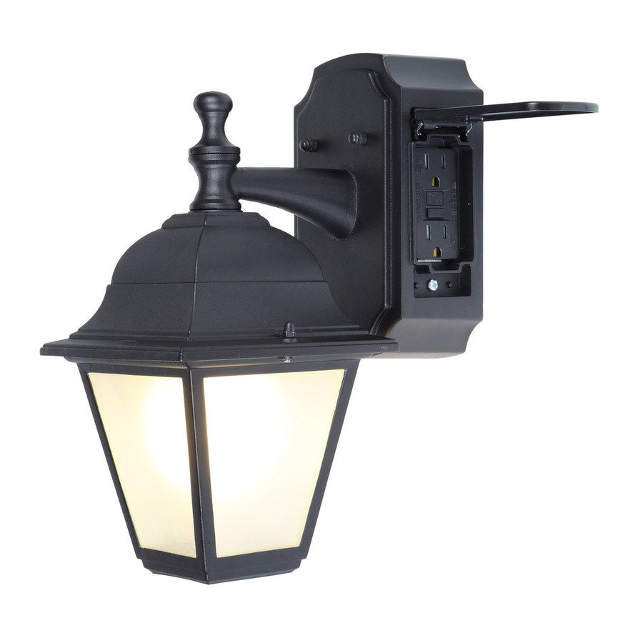 Portfolio gfci 1181 in h black outdoor wall light yard black outdoor light fixture porch patio exterior sconce outlet wall lamp new arubaitofo Choice Image