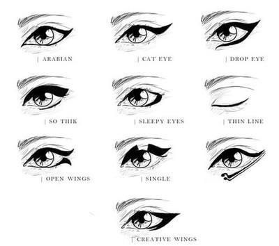 """Different types of """"winged"""" eyeliner. 