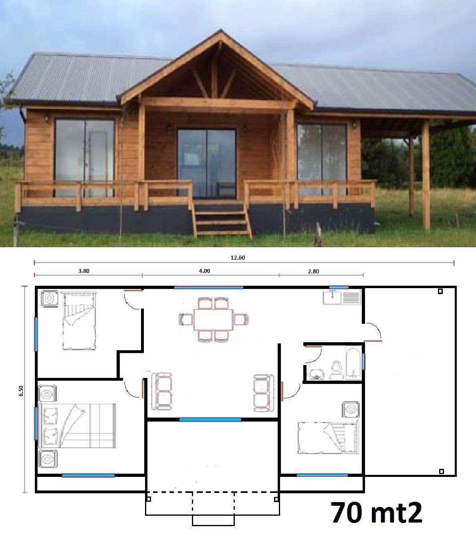 Casa1x70 fachadas pinterest planos casas y caba as for Casas de madera pequenas