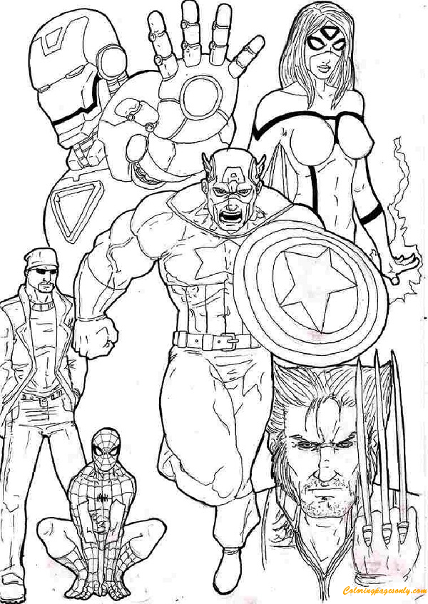 Superhero Team Avengers Coloring Page Coloring Pages For Kids And Adults This Coloring Pa Avengers Coloring Pages Avengers Coloring Superhero Coloring Pages