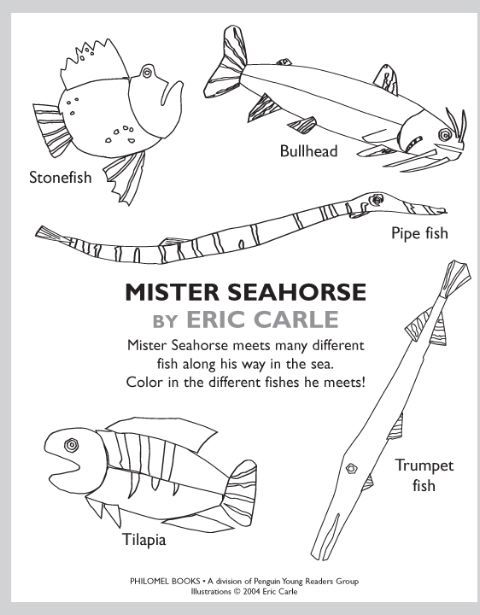 Eric Carle Coloring Pages Very Hungry Caterpillar Seahorse Very