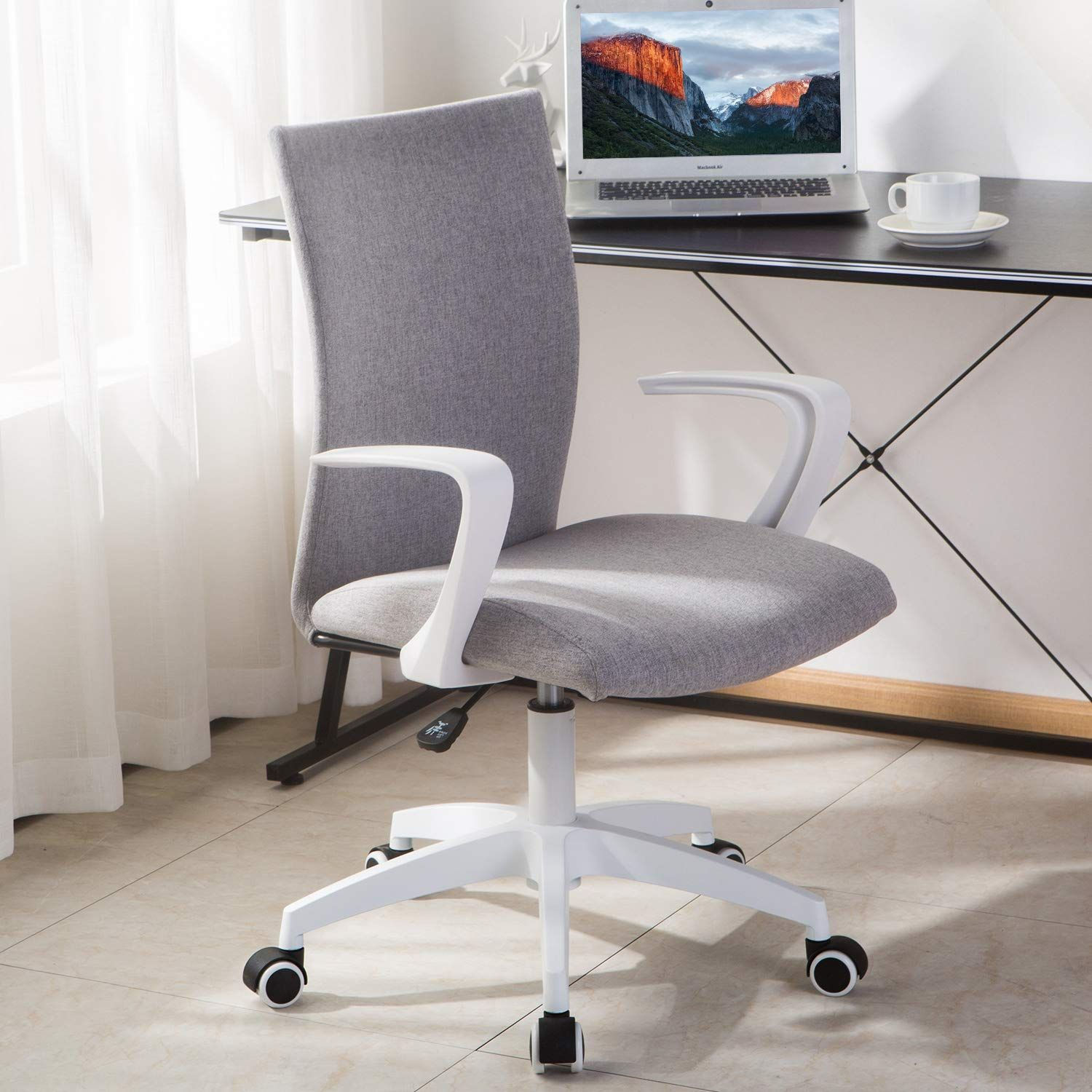 Novelland Office Desk Chair With Adjustable Height White Mordern