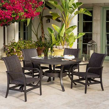 Outdoor Dining Set Round Table.Bellafina 5 Piece Dining Set Row Row Row Your Boat 5 Piece