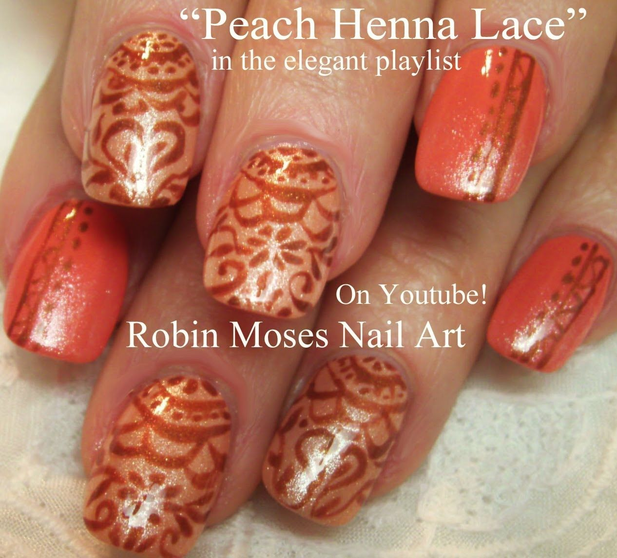 Henna Nail Art On Orange Nails Robin Moses Nail Art Videos