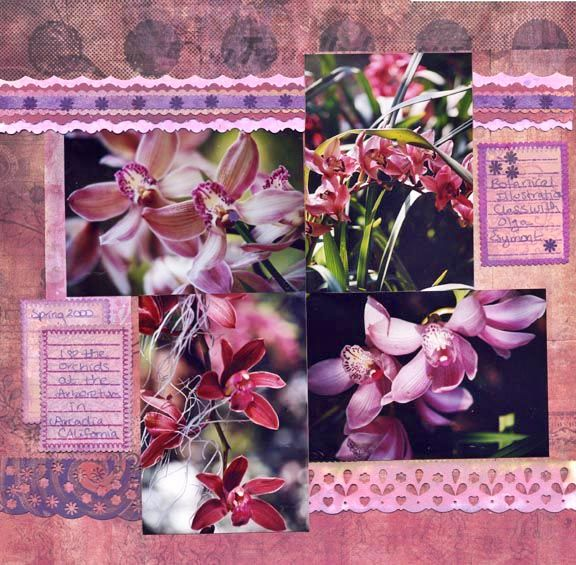 Scrapbooking Layout of Flowers. The Layout Features Supplies by Cosmo Cricket, Stamps by Autumn Leaves, plus Photography, Paper Lace and Hand Painting by Amy Solovay.