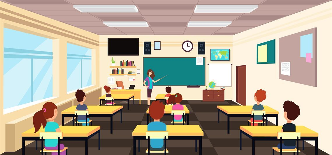 Teacher At Blackboard And Children At School Desks In Classroom Carto By Microvector Thehungryjpeg Com Children Ad In 2020 School Desks Cartoons Vector Classroom