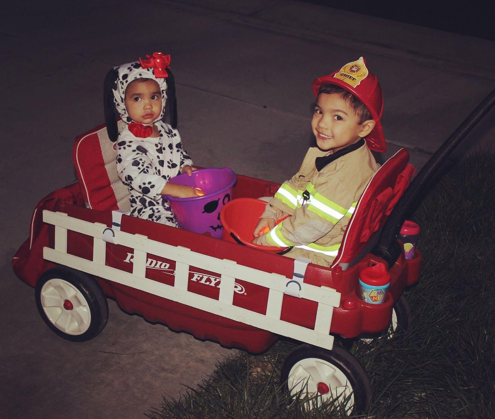Fireman and firedog. Big brother & baby sister. Halloween costumes