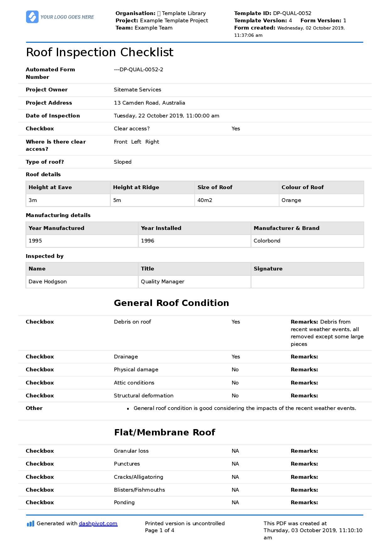 Commercial Roof Inspection Checklist And Report Template Within Commercial Property Inspection Report Inspection Checklist Checklist Template Contract Template