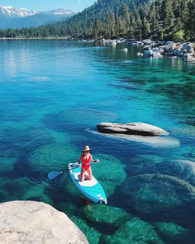 Paddling at Lake Tahoe, Nevada CA USA