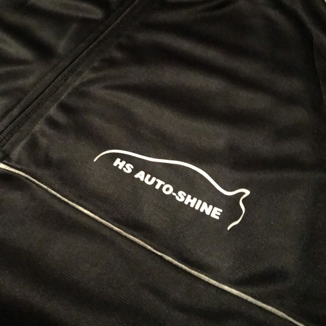 Black Tracksuit For Hsautoshine With White Reflective Vinyl Small Reflective Logo On The Front And Reflective Logo On Insta Fashion Shopping Outfit Car Wash