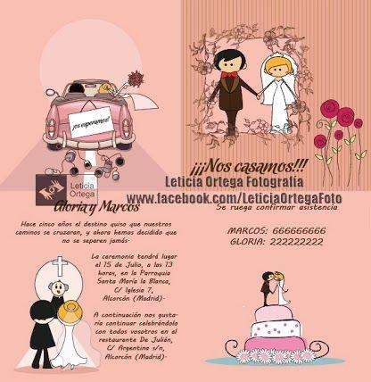 Diseño de invitación boda rosa por Leticia Ortega Fotografía.