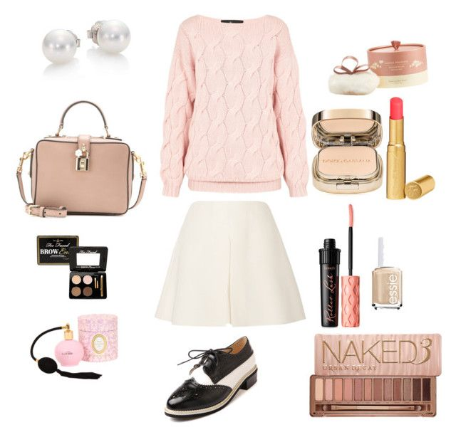 """Dady girl"" by andreachavezm on Polyvore featuring moda, Valentino, Naked Princess, Too Faced Cosmetics, Dolce&Gabbana, Benefit, Ladurée, Urban Decay, Mikimoto y Essie"
