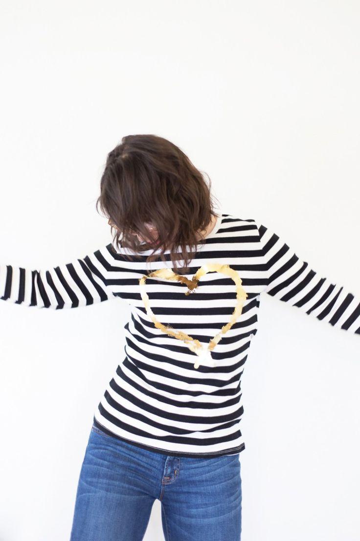 Diy gold iron on foil heart shirt gold diy diy clothes