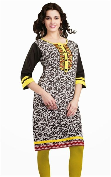 Lovely Black and White Color Indian Kurti