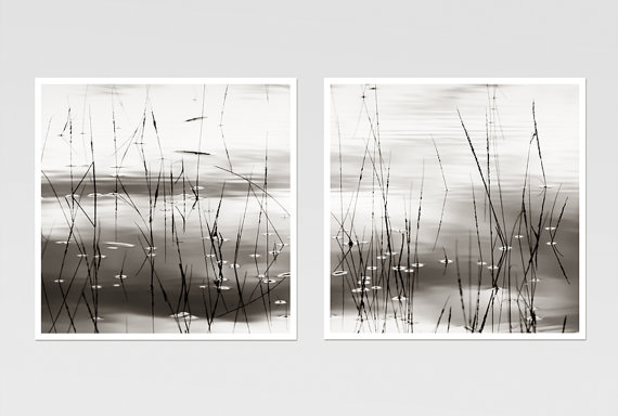 Set of 2 prints black and white photography zen art minimalist abstract nature