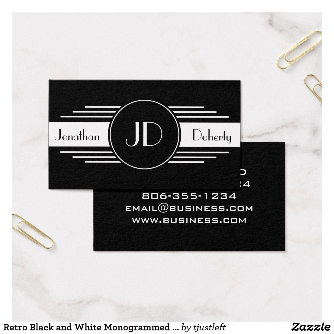 Retro Art Deco Black and White Monogram Business Card | Businesscard ...