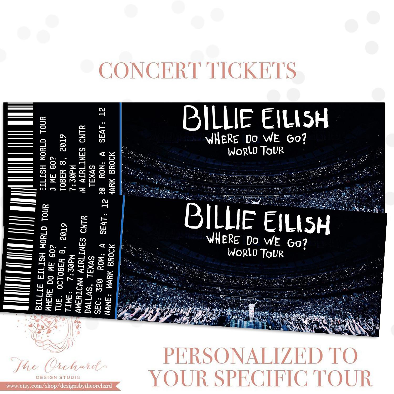 Billie Eilish Tour Ticket Billie Eilish Billie Comedy Tickets