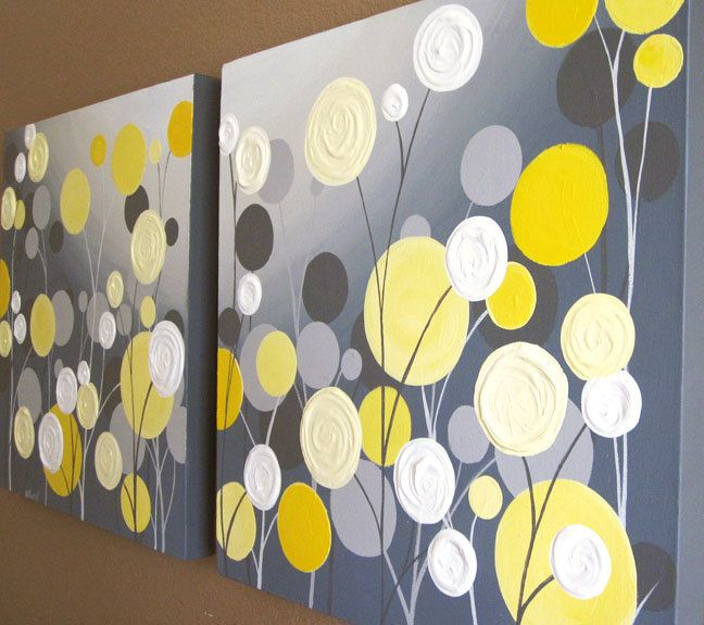 Wall Art, Textured Yellow and Grey Abstract Flower Garden, two 20x20 ...