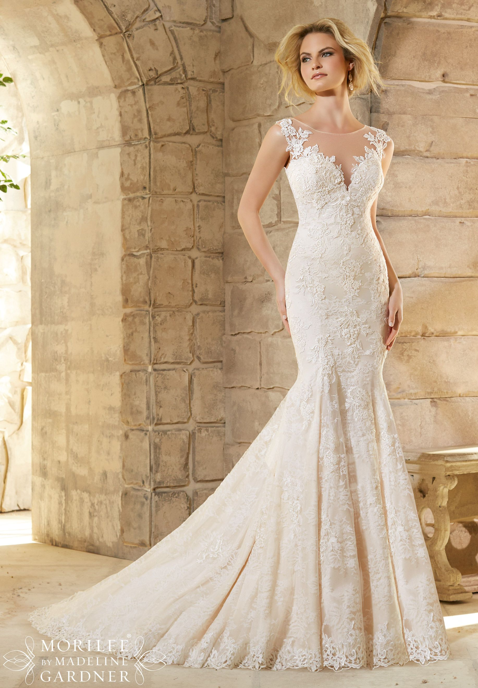 2778 bridal gowns dresses chantilly lace gown decorated for Chantilly lace wedding dress