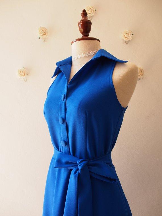c5e50e83e8 DOWNTOWN - Royal Blue Shirt Dress Blue Dress Color Vintage Modern Dress  Bridesmaid Dress Casual Work