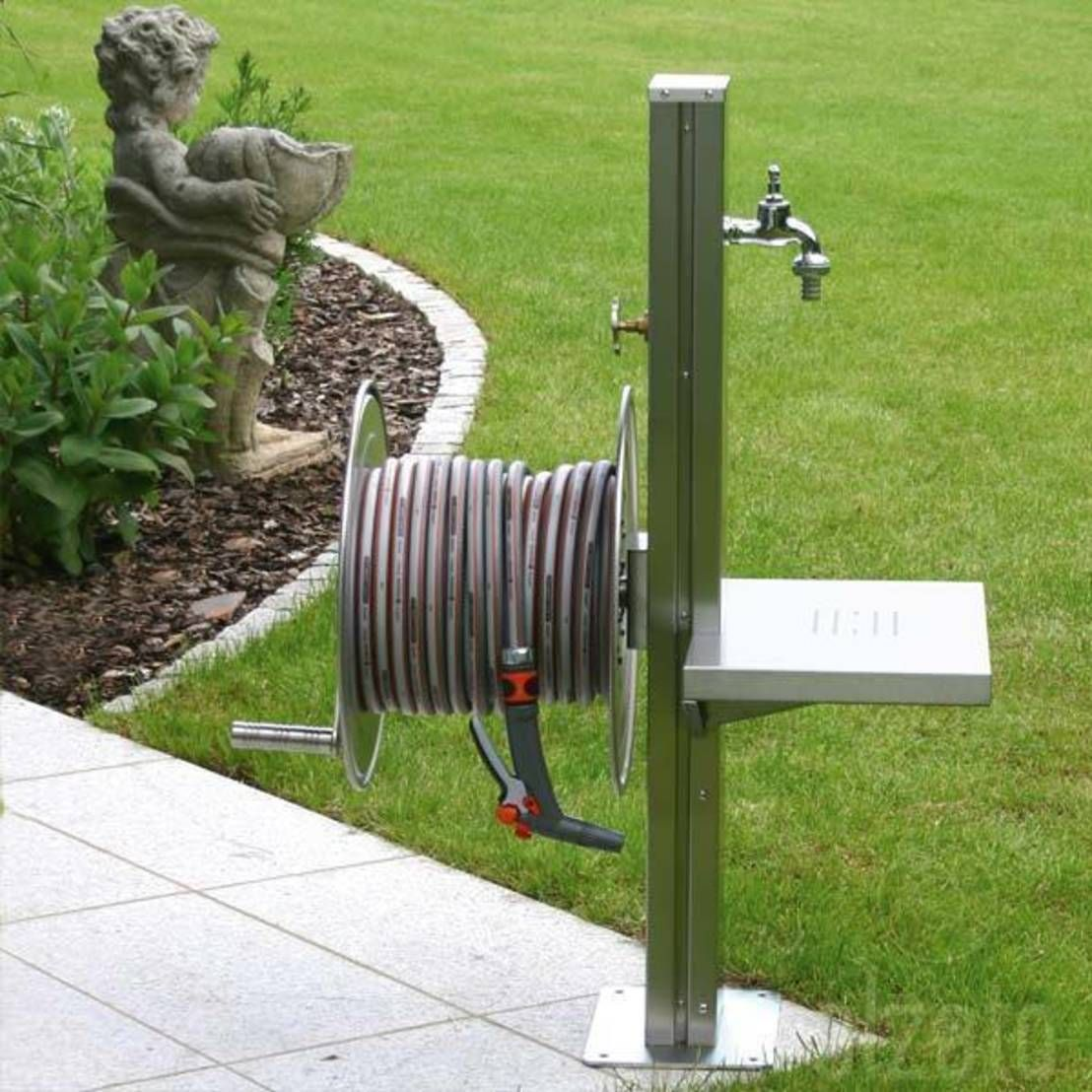 Stainless Steel Garden Tap Station with Hose Reel, Tap and Platform ...