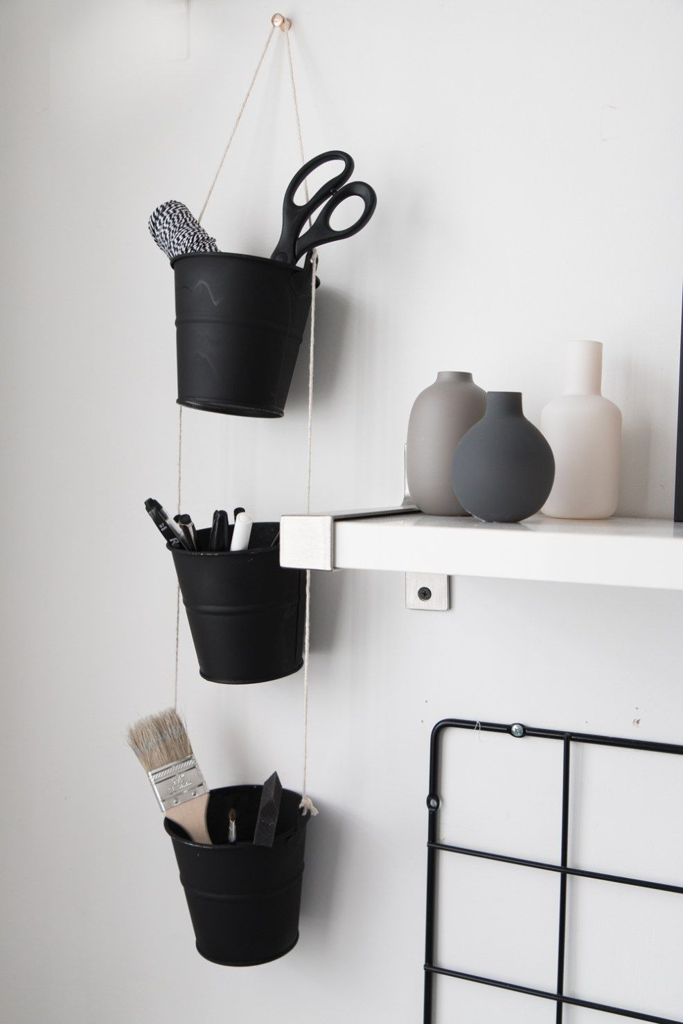 DIY Hanging Buckets Organizer | Organizations, Diys and Organizing