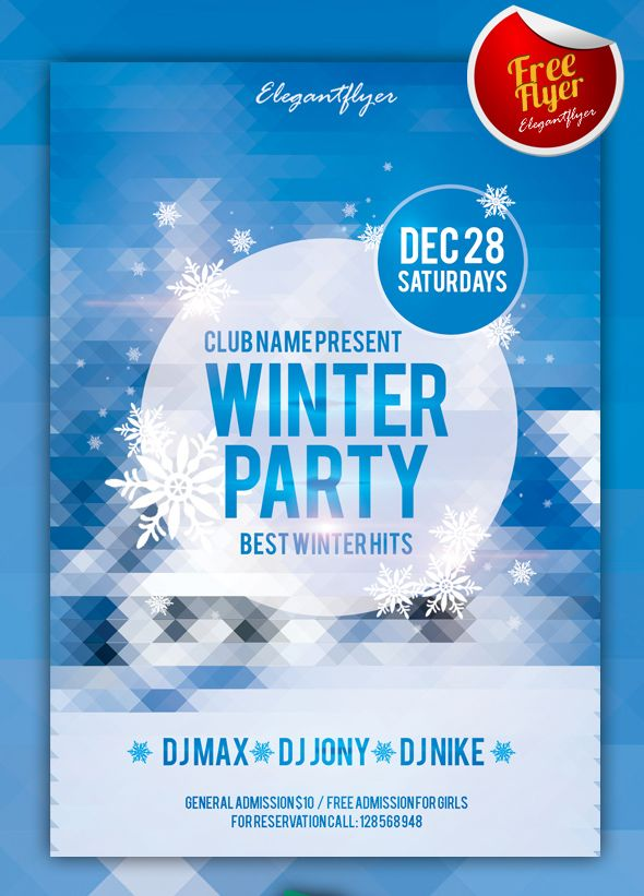 winter party free club and party flyer psd template graphic