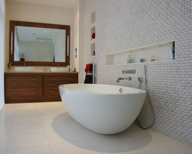 Photo Of Contemporary Cool Modern Touchwood Uk Bathroom With Freestanding Bath His And Hers Sinks Mirror