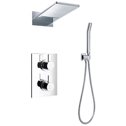 Shower faucet. Rain shower. Hand shower. Made of brass. Thermostatic ...