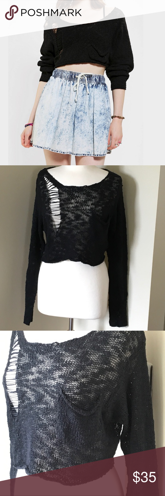 Kill City Cropped Destroyed Black Sweater