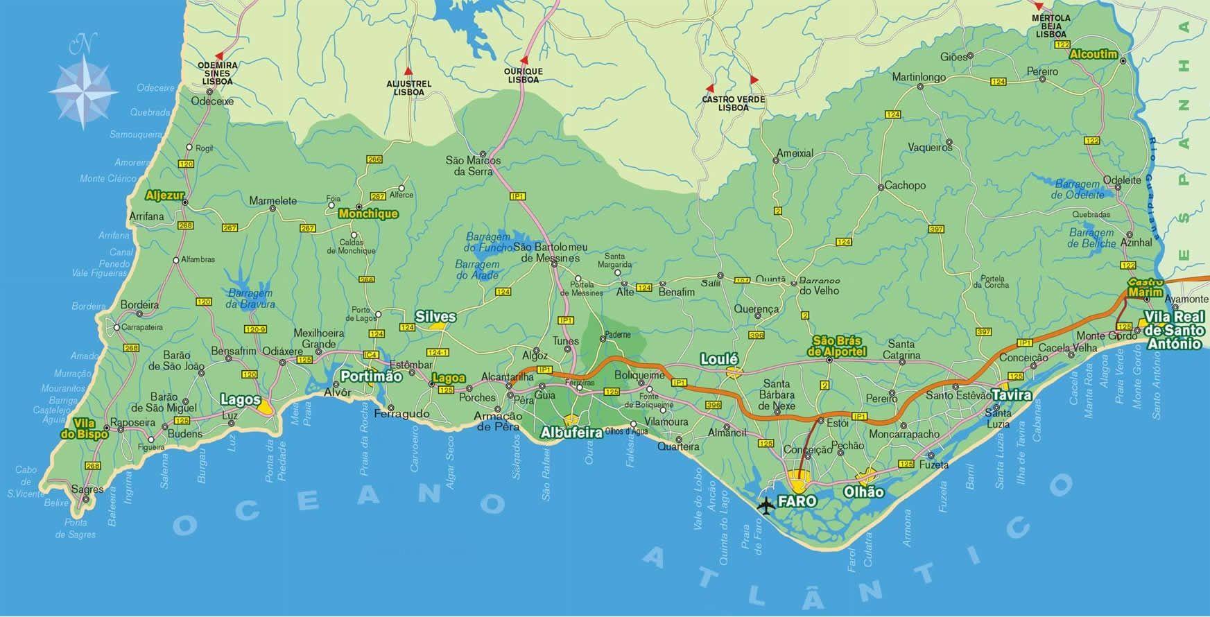 mapa playas algarve