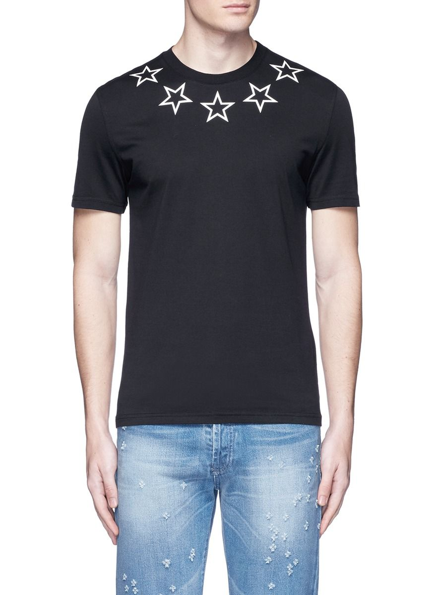GIVENCHY Star Print Cotton T-Shirt. #givenchy #cloth #t-shirt