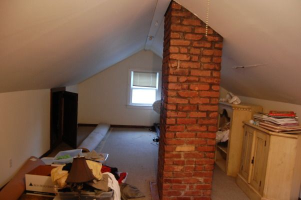 Attic With A Chimney In The Middle Attic Renovation Attic Flooring Attic Rooms