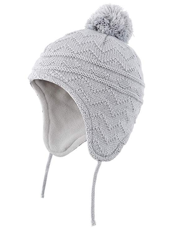 86c7505bda8 Connectyle Toddler Infant Baby Knit Kids Hat Fleece Lined Beanie Skull Cap  with Earflap Warm Winter Beanies Cap