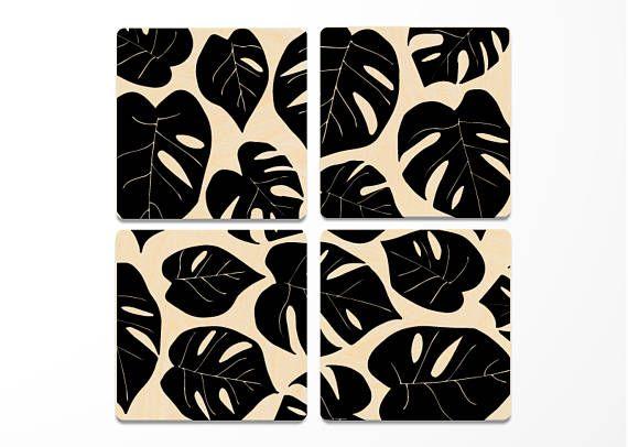 Monstera Palm Leaves Wood Coasters Set Of 4 Monstera Leaf Diy